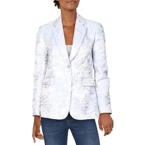 Tahari Womens Two-Button Blazer Flap Pocket Floral - Silver Blue