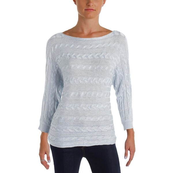 fc5840206fa6 Shop Ralph Lauren Womens Pullover Sweater Cable Knit Boatneck - Free ...