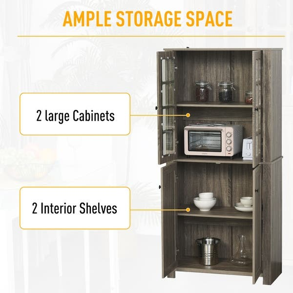 Homcom Contemporary Kitchen Pantry Freestanding Storage Cabinet Cupboard With Framed Glass Doors And Shelves Overstock 32496732