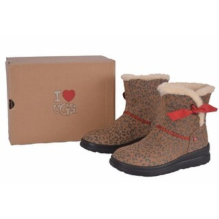 UGG Women's I Heart Knotty Leopard Print Shearling Wool Snow Boots Shoes
