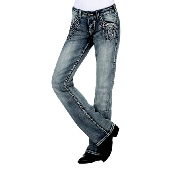 Shop Cowgirl Tuff Western Denim Jeans Womens Crystal Waterfall Med ... 3b8181208cc