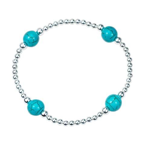 Handmade Galactic Round Stone Sterling Silver Elastic Beads Bracelet (Thailand)