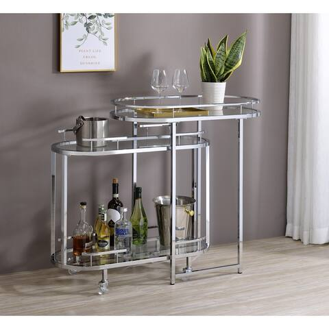 Furniture of America Susannah Chrome and Glass Nesting Serving Carts