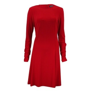 Lauren Ralph Lauren Women's Ruched Long Sleeves Dress - Orient Red