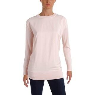 Lauren Ralph Lauren Womens Jadim Pullover Sweater Mixed Media Crew Neck