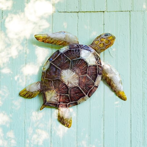 Sea Turtle Wall Decor with Brown Checkered Shell - 4 x 24 x 21