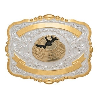 Crumrine Western Belt Buckle Kids Child Skeet Shoot Gold White