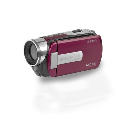 "Minolta MN80NV 1080p Full HD Night Vision Video Camcorder with 24.0 MP Still Image Resolution and 3"" Touch Screen LCD (Maroon)"