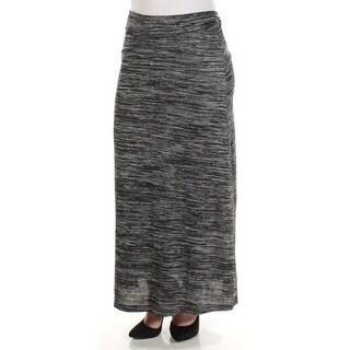 KENSIE $49 Womens New 1082 Black Gray Heather Maxi A-Line Casual Skirt S B+B