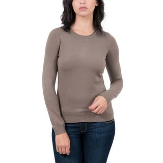 Real Cashmere Brown Crewneck Womens Sweater