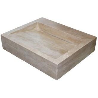 Linear Drain Rectangular Natural Stone Vessel Sink - Light Travertine