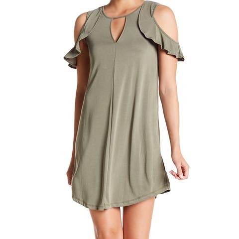 Jessica Simpson Women's Green Size Large L Cold Shoulder Shift Dress