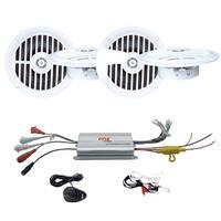 Two 5 ¼'' Dual Cone Waterproof Stereo Speaker System + 4 Channel Waterproof MP3/ Ipod Marine Power Amplifier