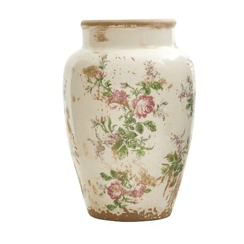 """12.5"""" Tuscan Ceramic Floral Print Vase"""