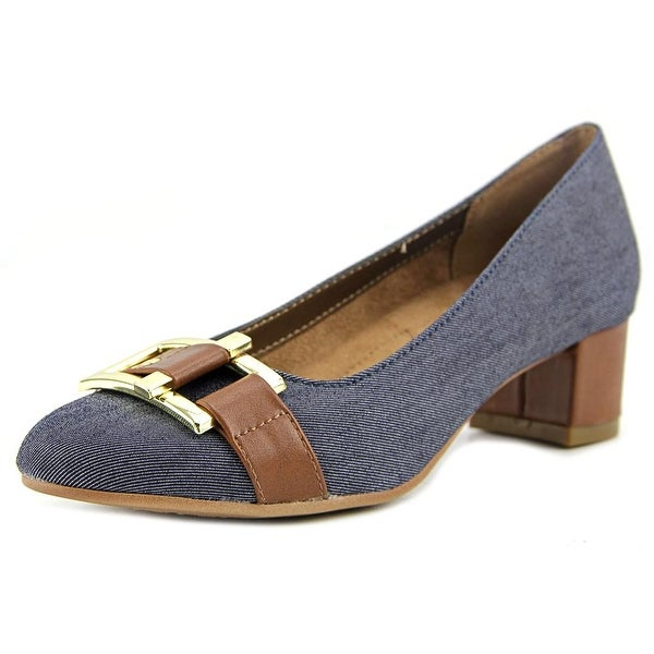 A2 By Aerosoles Sketch Pad Women Round Toe Canvas Blue Heels