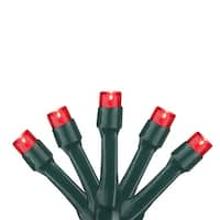 Set of 20 Battery Operated Red LED Wide Angle Christmas Lights - Green Wire