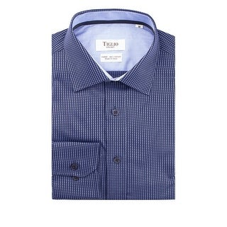 Navy with Light Blue Polka-Dot Pattern Modern Fit Sport Shirt by Tiglio Sport