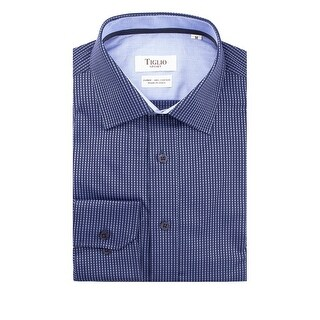 Navy with Light Blue Polka-Dot Pattern Modern Fit Sport Shirt by Tiglio Sport