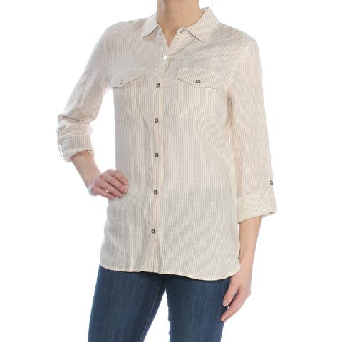 TOMMY HILFIGER Womens Beige Linen Utility Pinstripe 3/4 Sleeve Collared Button Up Top Size: S