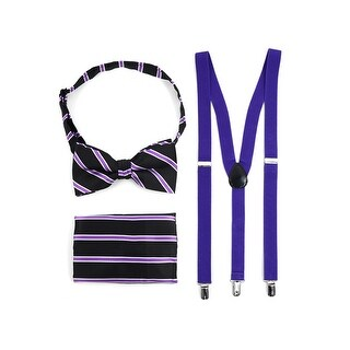 3pc Men's Purple Banded Suspenders, Striped Bow Tie and Hanky Sets - One Size Fits most