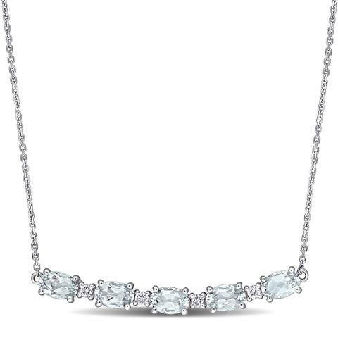 Miadora 14k White Gold Aquamarine and 1/6ct TDW Diamond 5-Stone Bar Necklace
