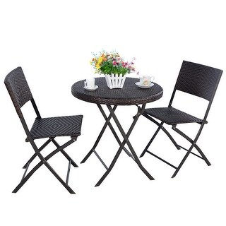 3 PC Folding Round Table & Chair Bistro Set Rattan Wicker Outdoor Furniture
