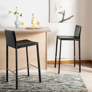 "Link to Safavieh Mid-Century 30-inch Park Black Leather Bar Stool (Set of 2) - 18.3"" x 19.7"" x 39.4"" Similar Items in Dining Room & Bar Furniture"