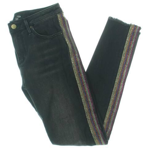Aqua Womens Skinny Jeans Striped High Rise - Black