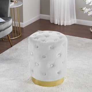 Beverly Modern Contemporary Round Tufted Upholstered Velvet Ottoman with Gold Metal Base