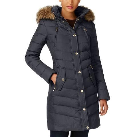 Michael Kors Womens Gunmetal 3,4 Down Puffer Coat