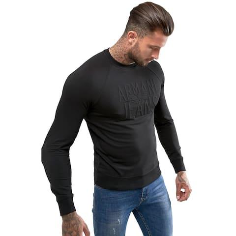 Armani Jeans Mens Embossed Logo Crewneck Sweatshirt Small Black