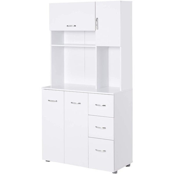 """HOMCOM 66"""" Kitchen Pantry Microwave Hutch with 4 Large Cabinets, White. Opens flyout."""
