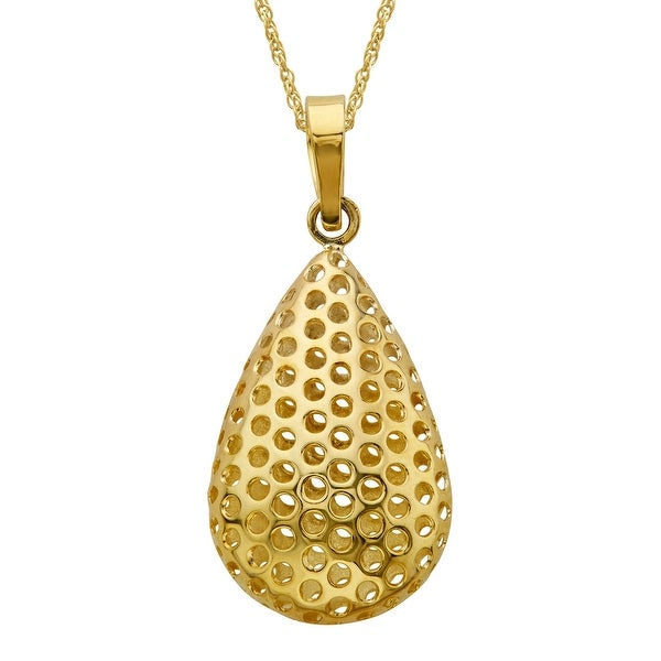 Puffed Mesh Teardrop Pendant in 14K Gold-Plated Sterling Silver - Yellow