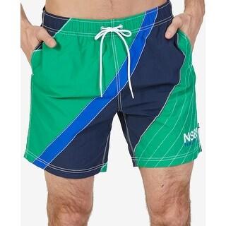 Nautica Blue Mens Size 2XL Drawstring Colorblock Trunks Swimwear