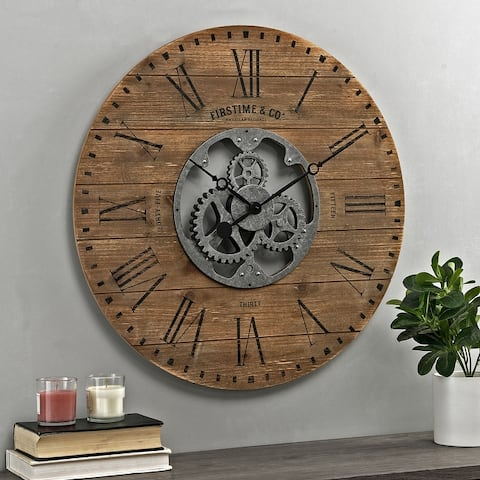Shiplap Farmhouse Gears Wall Clock