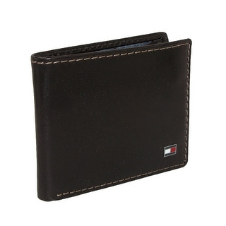 Tommy Hilfiger Men's Leather Logan Double Billfold Wallet - Chocolate Brown - One Size