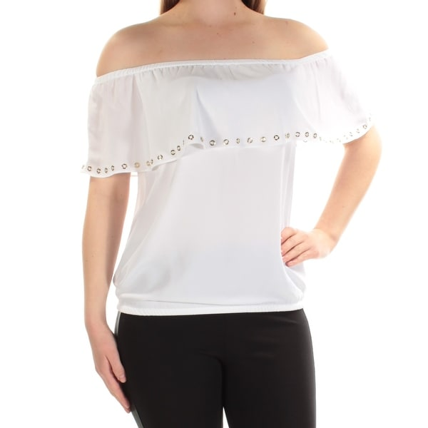 705dd3a41c1bee Shop MICHAEL KORS Womens White Eyelet Off Shoulder Top Size  S - On Sale -  Free Shipping On Orders Over  45 - Overstock - 23457408