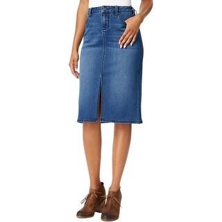 Earl Jean Womens Pencil Skirt Front Slit Knee-Length