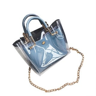 QZUnique Women's Summer PVC Transparent Beach Bag Crossbody Top-handle Tote Bag Shoulder Bag