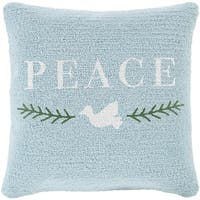 "18"" Icy Blue and Snowy White ""PEACE"" Decorative Winter Holiday Throw Pillow - green"