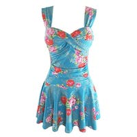 QZUnique Women's Summer Swimdress Rose Flowers Printed Swimwear Padded Push Up Swimsuit