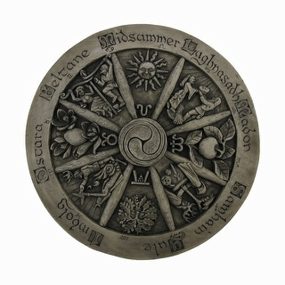 Wheel Of The Year Wood Finish Wall Hanging Wicca Pagan - brown