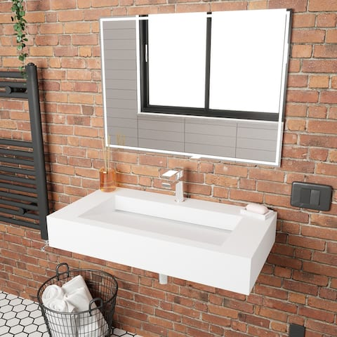 """Pyramid Solid Surface Wall Mounted Sinks 36"""" - 72"""""""