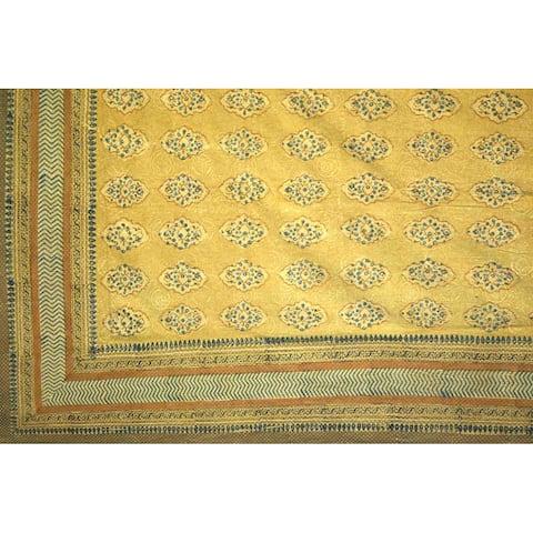 Handmade 100% Cotton Kensington Hand Block Print Bedspread Coverlet Gold Twin Full Queen