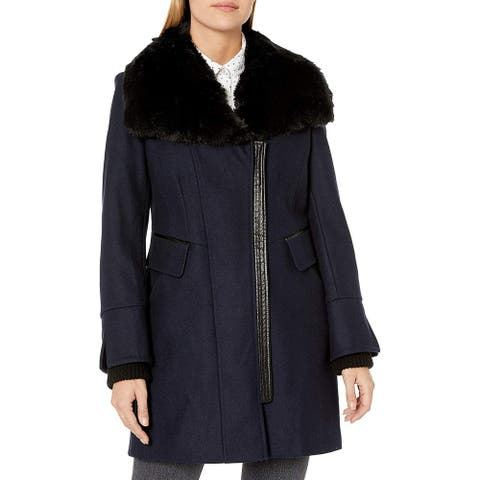 Via Spiga Women's Coat True Navy Blue Size 4 Asymmetrical Moto Zip