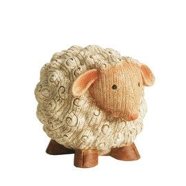 "7"" Grooved White Roly-Poly Stone Sheep Indoor/Outdoor Statue Decoration"