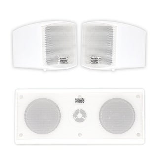 Acoustic Audio AA321W and AA35CW Indoor Speakers Home Theater 3 Speaker Set