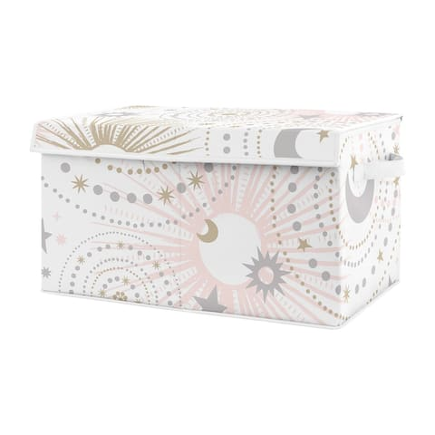 Sweet Jojo Blush Pink, Gold and Grey Star and Moon Celestial Collection Girl Kids Fabric Toy Bin Storage