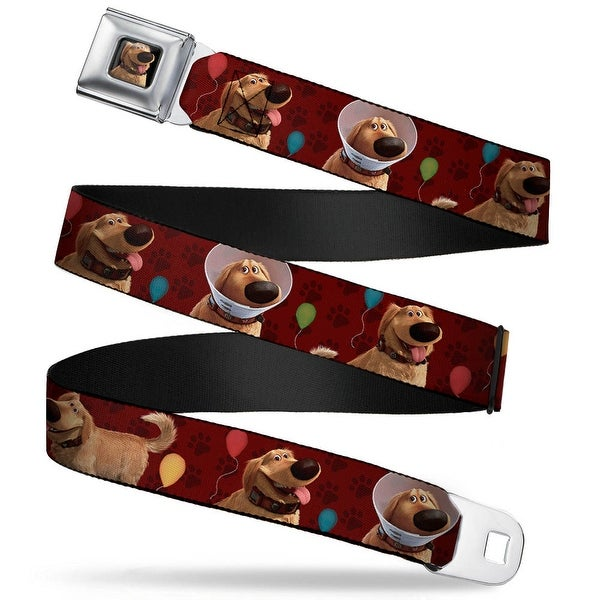 Dug Tongue Out Pose Full Color Black Dug 4 Poses Balloons Paw Print Reds Seatbelt Belt