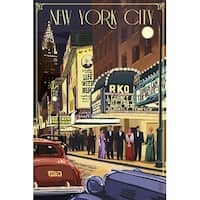 NY - Theater Scene - LP Artwork (100% Cotton Towel Absorbent)